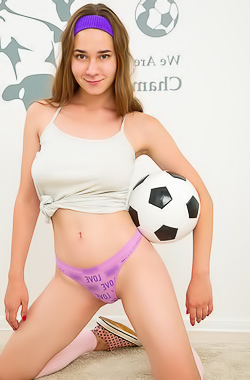 Kecy Hill Teen brunette strips and hotly poses with soccer ball
